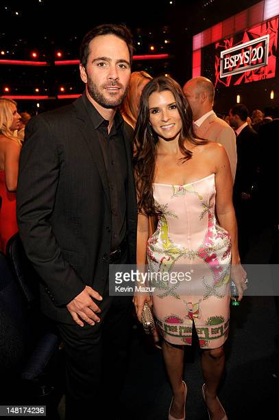 Professional racing drivers Jimmie Johnson and Danica Patrick attend the 2012 ESPY Awards at Nokia Theatre LA Live on July 11 2012 in Los Angeles...
