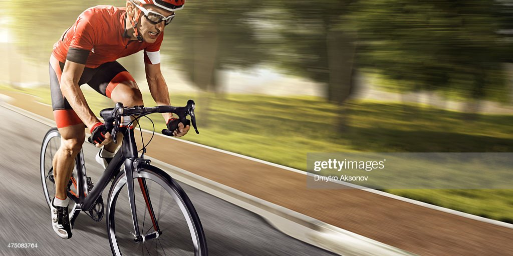 Professional road cyclist : Stock Photo