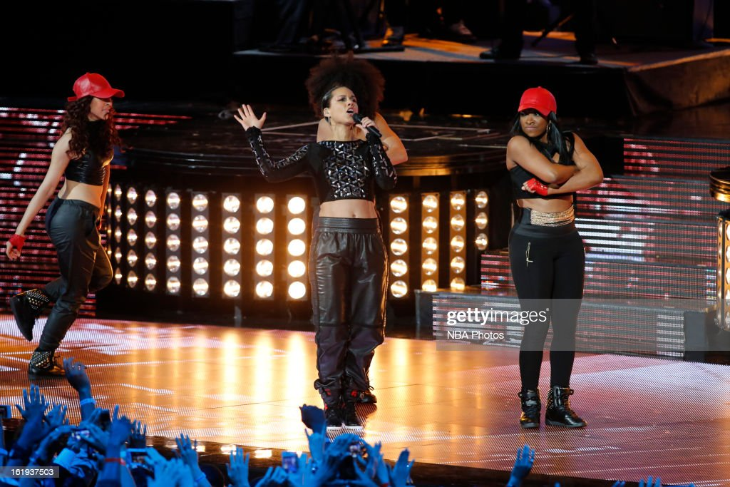 Professional Singer Alicia Keys performs for the crowd at half-time during 2013 NBA All-Star Game on February 17, 2013 at Toyota Center in Houston, Texas.