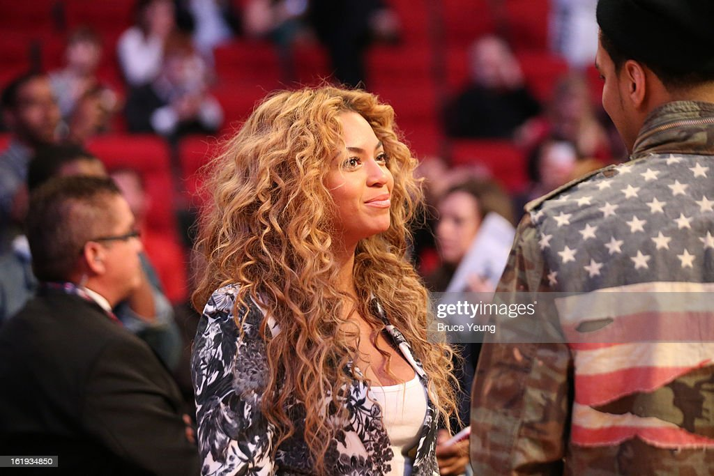 Professional Singer Beyoncé Knowles smiles prior to the 2013 NBA All-Star Game on February 17, 2013 at Toyota Center in Houston, Texas.
