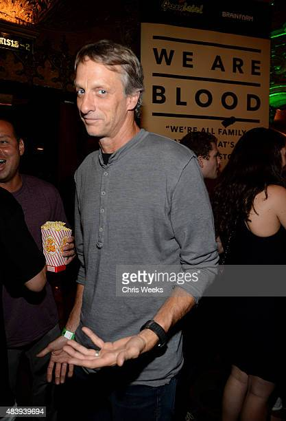 Professional skateboarder Tony Hawk attends the 'WE ARE BLOOD' World Premiere hosted by Mountain Dew Green Label Films and Brain Farm at The Theatre...