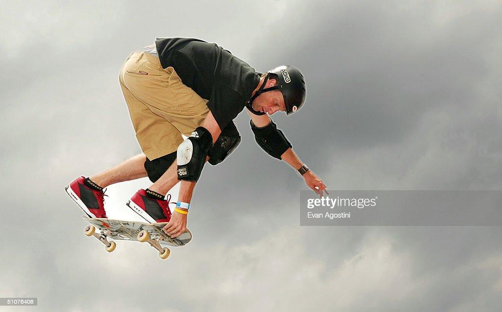 Professional skateboarding legend Tony Hawk participates in a skateboarding demonstration to promote his new radio show 'Tony Hawk's Demolition...