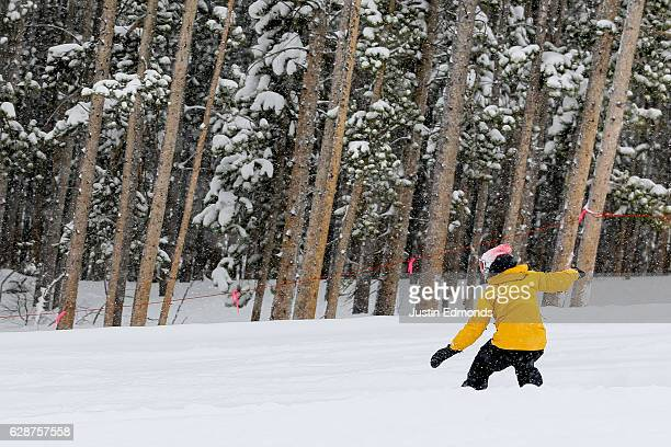 Professional snowboarder Danny Davis enjoys first tracks during the Dew Tour Kick Off Media Event on December 9 2016 in Breckenridge Colorado