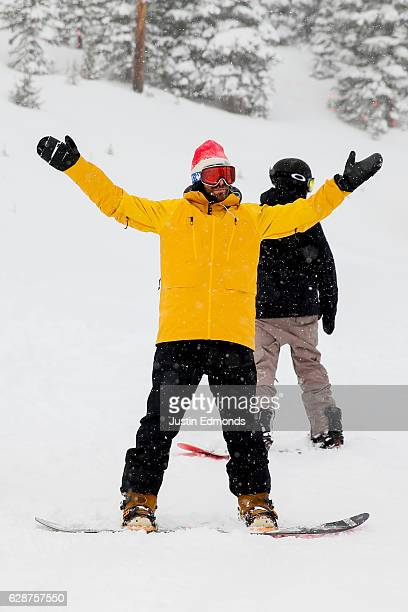 Professional snowboarder Danny Davis enjoys the snow with the media before first tracks during the Dew Tour Kick Off Media Event on December 9 2016...