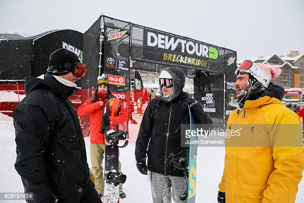 Professional snowboarder Danny Davis interacts with the media before first tracks during the Dew Tour Kick Off Media Event on December 9 2016 in...