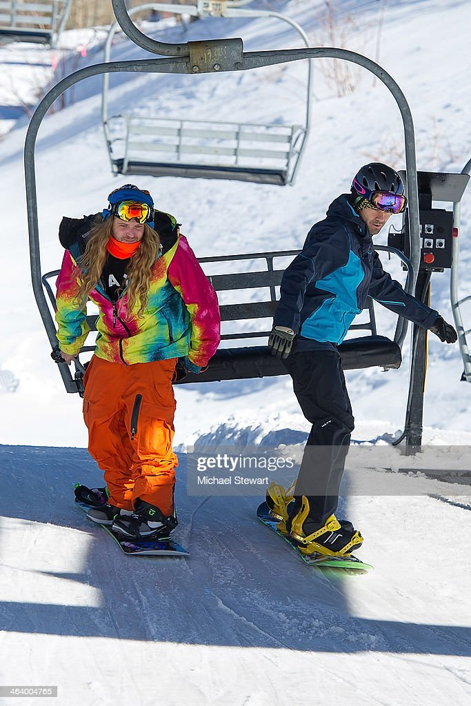 Professional snowboarder Dingo (L) and actor Adrian Grenier attend Oakley Learn To Ride With AOL At Sundance Day 3 on January 19, 2014 in Park City, Utah.