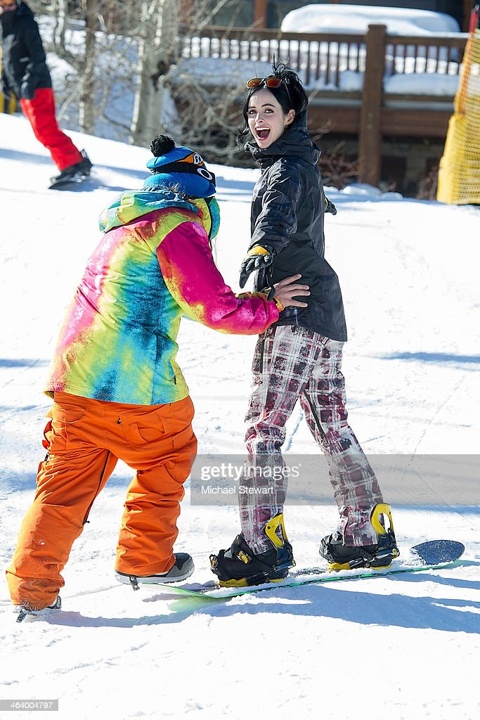Professional snowboarder Dingo (L) and actress <a gi-track='captionPersonalityLinkClicked' href=/galleries/search?phrase=Krysten+Ritter&family=editorial&specificpeople=655673 ng-click='$event.stopPropagation()'>Krysten Ritter</a> attend Oakley Learn To Ride With AOL At Sundance Day 3 on January 19, 2014 in Park City, Utah.