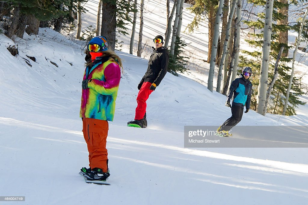 Professional snowboarder Dingo, tv personality Jesse Giddings and actor Adrian Grenier attend Oakley Learn To Ride With AOL At Sundance Day 3 on January 19, 2014 in Park City, Utah.