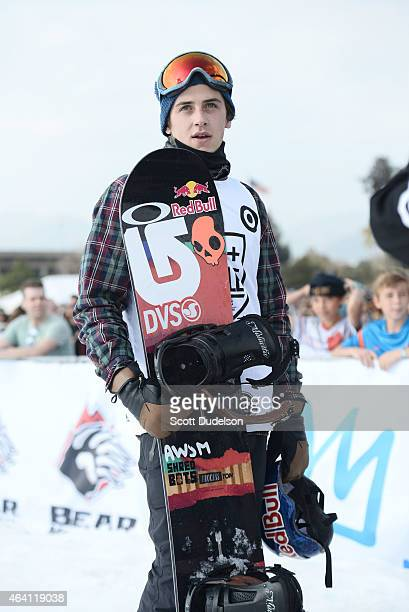 Professional snowboarder Mark McMorris participates in the 2015 Air Style compeition at Rose Bowl on February 21 2015 in Pasadena California