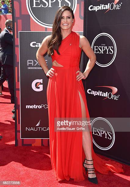 Professional soccer player Ali Krieger arrives at The 2015 ESPYS at Microsoft Theater on July 15 2015 in Los Angeles California