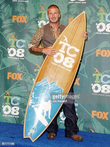 Professional soccer player David Beckham poses in the 2008 Teen Choice Awards Press Room at the Gibson Amphitheater on August 3 2008 in Universal...