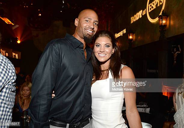 Professional soccer player Hope Solo and Professional football player Jerramy Stevens attend ESPN the Magazine 5th annual 'Body Issue' party at Lure...