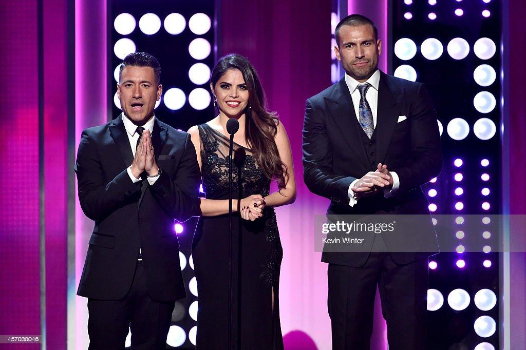 Professional soccer player Jorge Bernal TV personality Yarel Ramos and model Rafael Amaya speak onstage during the 2014 NCLR ALMA Awards at the...