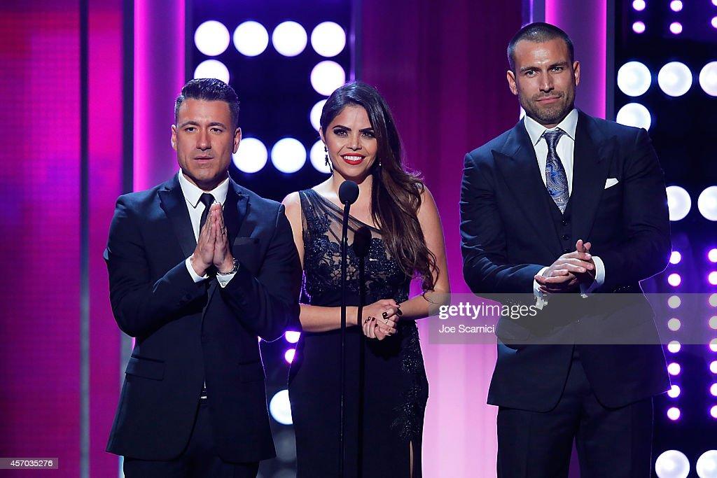 Professional soccer player Jorge Bernal TV personality Yarel Ramos and model Rafael Amaya speak onstage during the 2014 NCLR ALMA Awards at Pasadena...