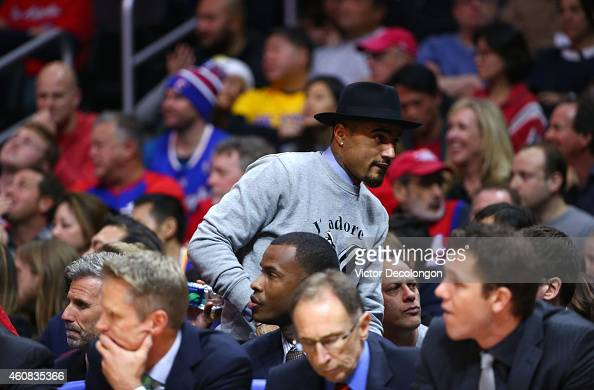 Professional soccer player Kevin Prince Boateng attends the NBA game between the Golden State Warriors and the Los Angeles Clippers at Staples Center...