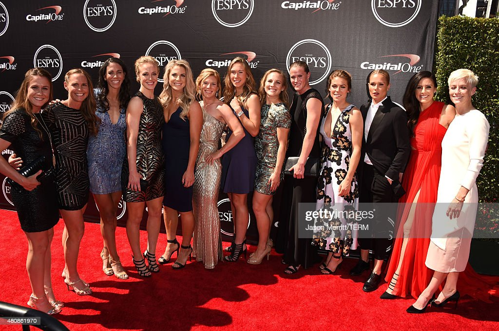 Professional soccer players Heather O'Reilly, Christine Rampone, Shannon Boxx, Becky Sauerbrunn, Julie Johnston, LoriChalupny, Whitney Engen, Amy RodRodriguez, Alyssa Naeher, Kelly O'Hara, Ashlyn Harris, Ali Krieger and Megan Rapinoe attend The 2015 ESPYS at Microsoft Theater on July 15, 2015 in Los Angeles, California.