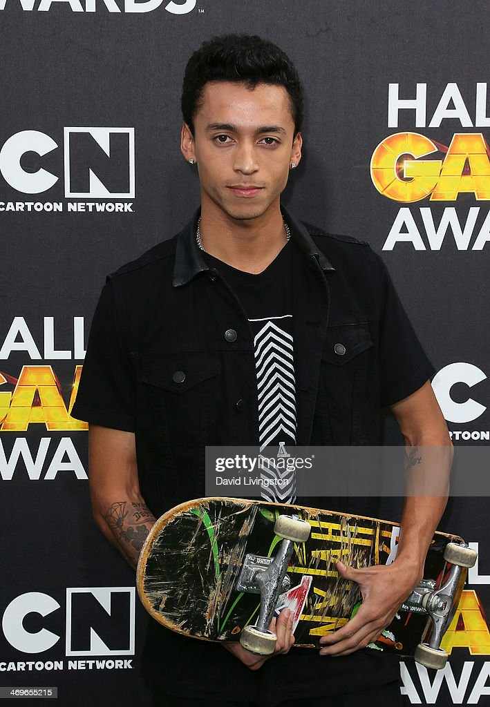 Professional street skateboarder <a gi-track='captionPersonalityLinkClicked' href=/galleries/search?phrase=Nyjah+Huston&family=editorial&specificpeople=4631045 ng-click='$event.stopPropagation()'>Nyjah Huston</a> attends Cartoon Network's Hall of Game Awards at Barker Hangar on February 15, 2014 in Santa Monica, California.