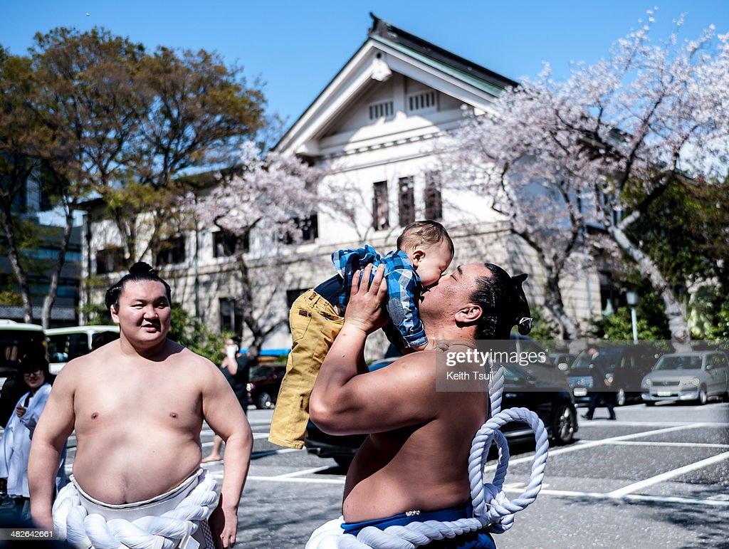 Professional Sumo wrestler Hakuho Sho (L), Harumafuji Kohei and his kid are seen during the Ceremonial Sumo Tournament or Honozumo at the Yasukuni Shrine on April 4, 2014 in Tokyo, Japan.