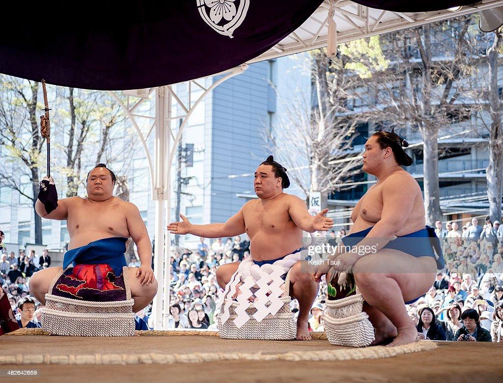 Professional sumo wrestler Harumafuji Kohei performs Dohyoiri the ringentering ceremony during the Ceremonial Sumo Tournament or Honozumo at the...