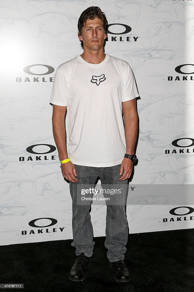 Professional surfer <a gi-track='captionPersonalityLinkClicked' href=/galleries/search?phrase=Bruce+Irons&family=editorial&specificpeople=642569 ng-click='$event.stopPropagation()'>Bruce Irons</a> arrives at Oakley's Disruptive by Design at Red Studios on February 24, 2014 in Los Angeles, California.
