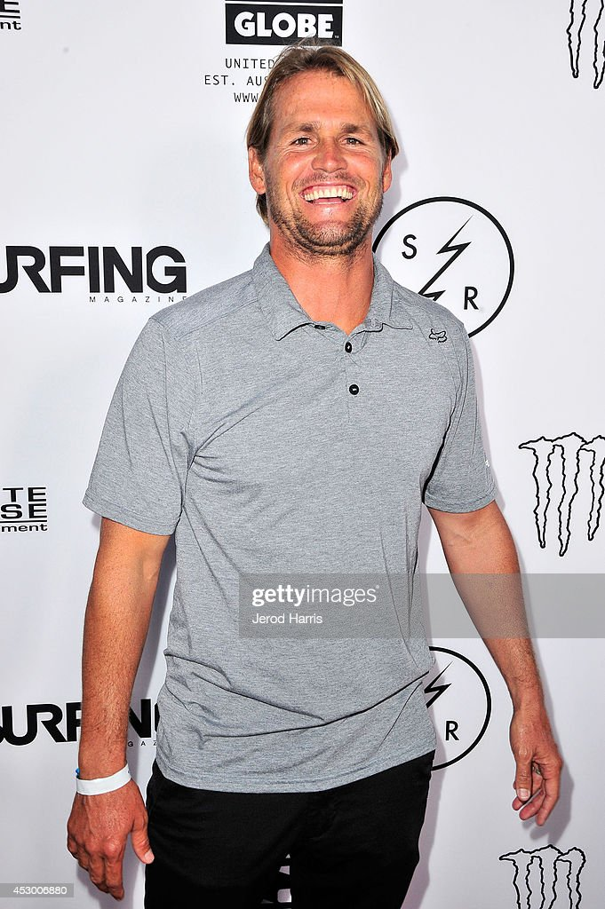 Professional surfer Damien Hobgood attends 'Strange Rumblings In ShangriLa' world premiere at Pacific Air Center on July 31 2014 in Long Beach...