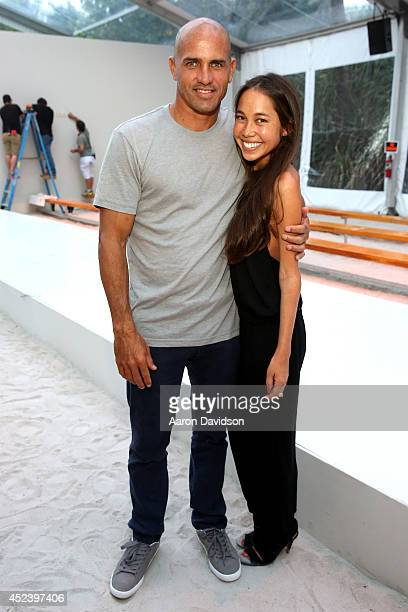 Professional surfer Kelly Slater and designer Kalani Miler attend the Mikoh fashion show during MercedesBenz Fashion Week Swim 2015 at Oasis at The...