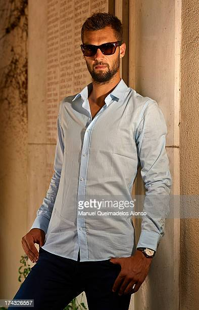 Professional tennis player Benoit Paire poses during a Maui Jim shooting at Lagardere Racing Club on July 23 2013 in Paris France
