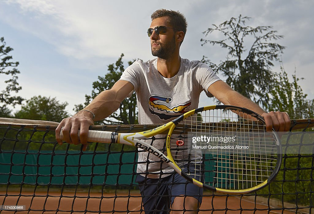 Professional tennis player <a gi-track='captionPersonalityLinkClicked' href=/galleries/search?phrase=Benoit+Paire&family=editorial&specificpeople=6999938 ng-click='$event.stopPropagation()'>Benoit Paire</a> poses during a Maui Jim shoot at Lagardere Racing Club on July 23, 2013 in Paris, France.