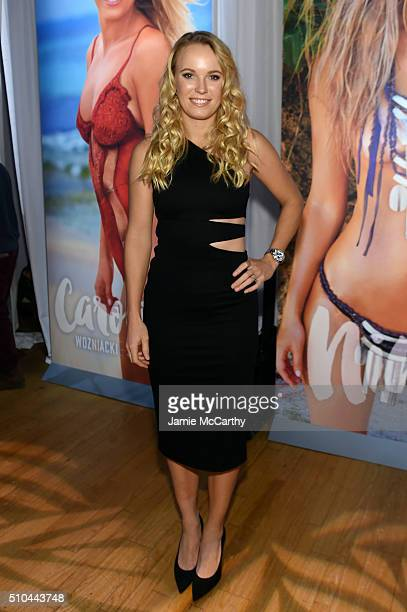Professional Tennis player Caroline Wozniacki poses at the Sports Illustrated Swimsuit 2016 Swim City at the Altman Building on February 15 2016 in...