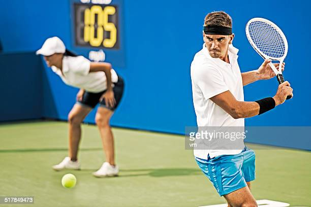 Professional Tennis Player Hit a Backhand