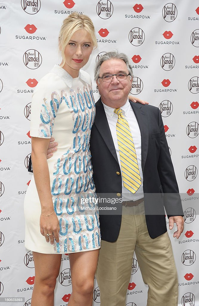 Professional Tennis Player <a gi-track='captionPersonalityLinkClicked' href=/galleries/search?phrase=Maria+Sharapova&family=editorial&specificpeople=157600 ng-click='$event.stopPropagation()'>Maria Sharapova</a> and Henri Bendel President Chris Fiore appear for Sharapova's Sugarpova candy launch at Henri Bendel on August 20, 2012 in New York City.