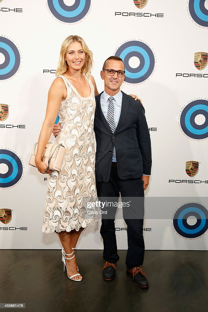 Professional tennis player Maria Sharapova (L) and Steven Kolb, Chief Executive Officer at CFDA attend the CFDA Celebrates Fashion Targets Breast Cancer 20th Anniversary event with Maria Sharapova, presented by Porsche at The New Museum on August 20, 2014 in New York City.