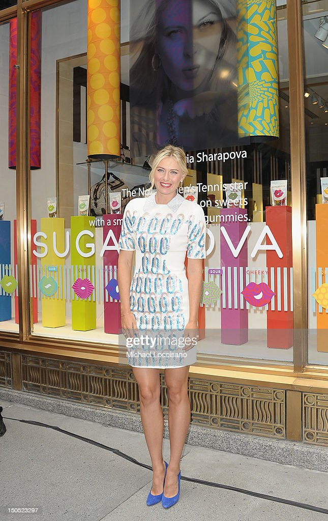 Professional Tennis Player <a gi-track='captionPersonalityLinkClicked' href=/galleries/search?phrase=Maria+Sharapova&family=editorial&specificpeople=157600 ng-click='$event.stopPropagation()'>Maria Sharapova</a> appears for her Sugarpova candy launch at Henri Bendel on August 20, 2012 in New York City.