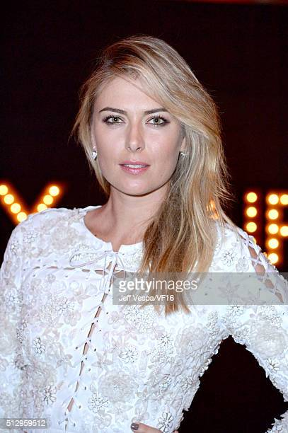 Professional tennis player Maria Sharapova attends the 2016 Vanity Fair Oscar Party Hosted By Graydon Carter at the Wallis Annenberg Center for the...