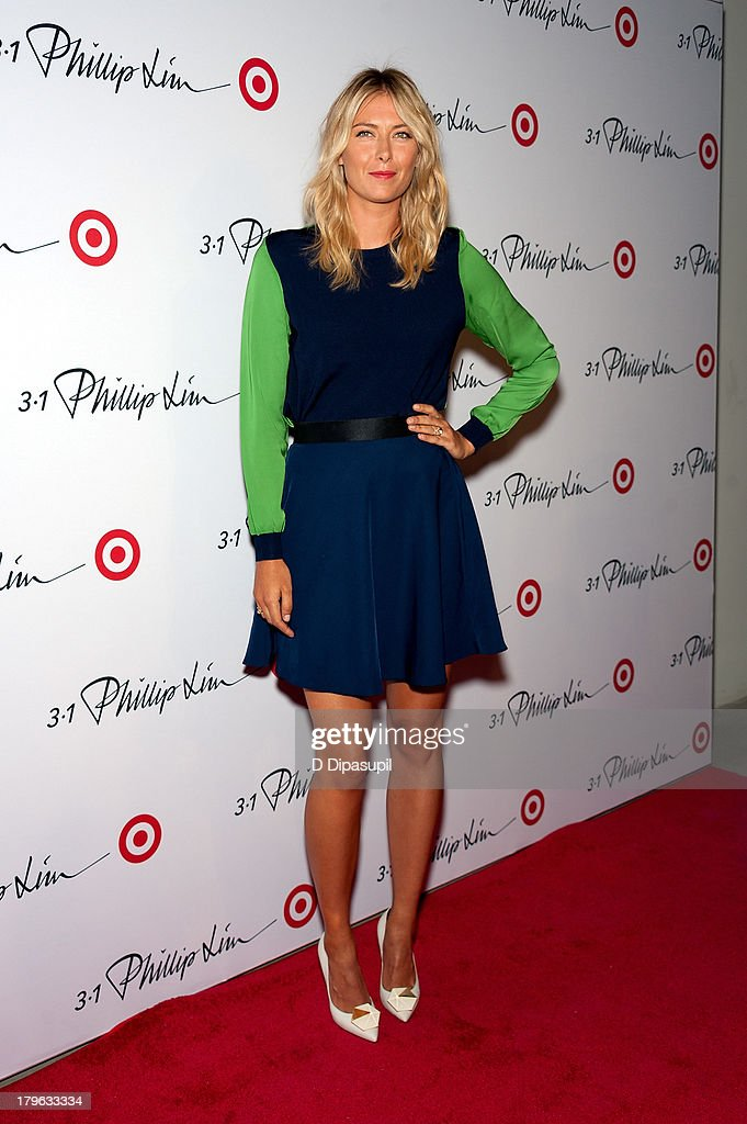 Professional tennis player <a gi-track='captionPersonalityLinkClicked' href=/galleries/search?phrase=Maria+Sharapova&family=editorial&specificpeople=157600 ng-click='$event.stopPropagation()'>Maria Sharapova</a> attends the 3.1 Phillip Lim for Target Launch Event at Spring Studio on September 5, 2013 in New York City.