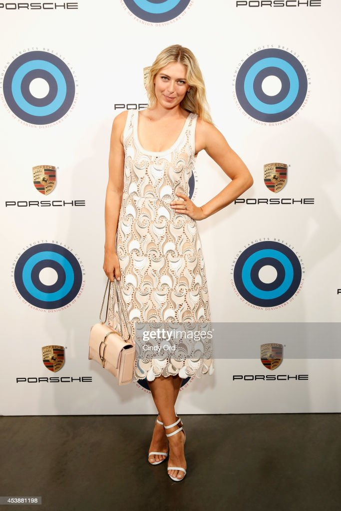 Professional tennis player <a gi-track='captionPersonalityLinkClicked' href=/galleries/search?phrase=Maria+Sharapova&family=editorial&specificpeople=157600 ng-click='$event.stopPropagation()'>Maria Sharapova</a> attends the CFDA Celebrates Fashion Targets Breast Cancer 20th Anniversary event with <a gi-track='captionPersonalityLinkClicked' href=/galleries/search?phrase=Maria+Sharapova&family=editorial&specificpeople=157600 ng-click='$event.stopPropagation()'>Maria Sharapova</a>, presented by Porsche at The New Museum on August 20, 2014 in New York City.