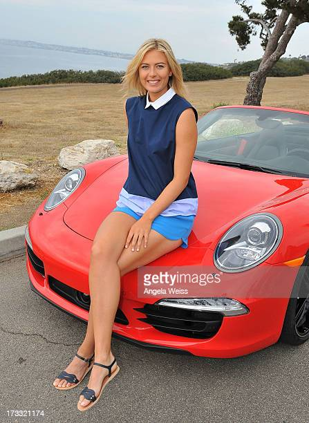 Professional tennis player Maria Sharapova poses during a Porsche shooting on July 11 2013 in Manhattan Beach California
