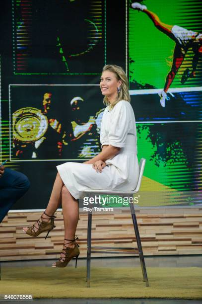 Professional tennis player Maria Sharapova tapes an interview at 'Good Morning America' at the ABC Times Square Studios on September 12 2017 in New...