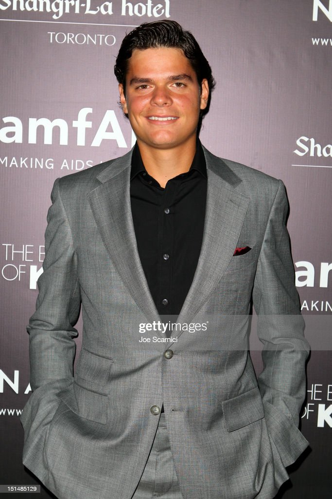 Professional tennis player <a gi-track='captionPersonalityLinkClicked' href=/galleries/search?phrase=Milos+Raonic&family=editorial&specificpeople=5421226 ng-click='$event.stopPropagation()'>Milos Raonic</a> attends amfAR Cinema Against AIDS TIFF 2012 during the 2012 Toronto International Film Festival at Shangri-La Hotel on September 7, 2012 in Toronto, Canada.