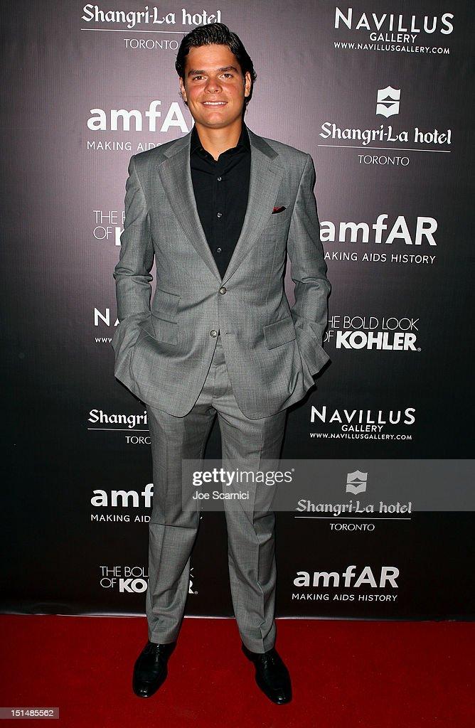 Professional tennis player Milos Raonic attends amfAR Cinema Against AIDS TIFF 2012 during the 2012 Toronto International Film Festival at Shangri-La Hotel on September 7, 2012 in Toronto, Canada.