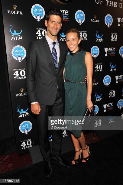 Professional tennis player Novak Djokovic and Jelena Ristic attend the ATP Heritage Celebration at The Waldorf=Astoria on August 23 2013 in New York...