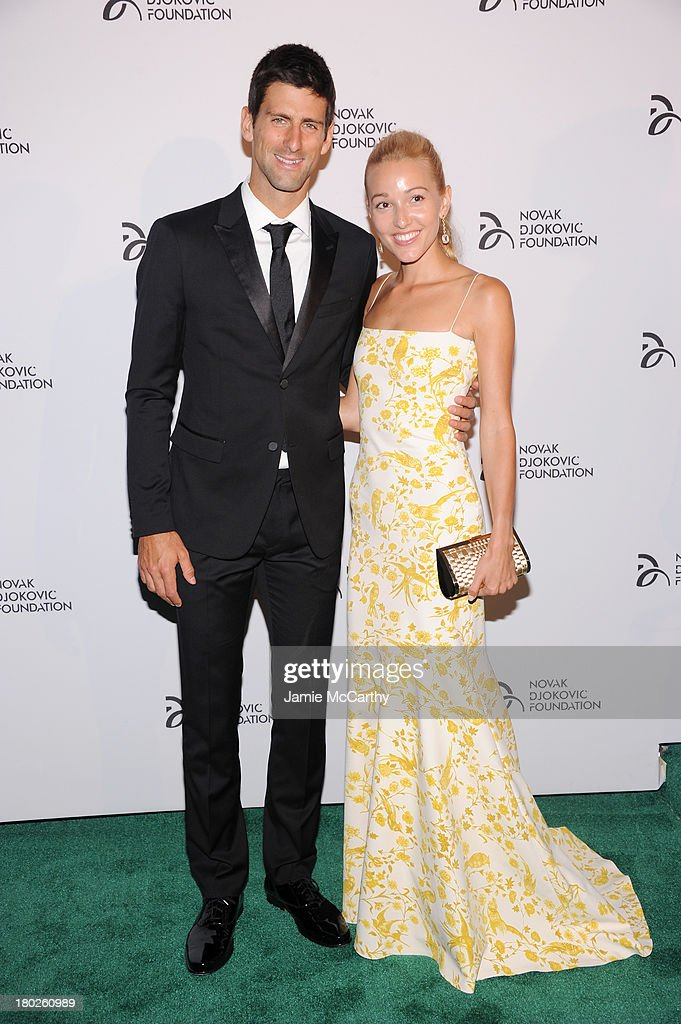 Professional tennis player <a gi-track='captionPersonalityLinkClicked' href=/galleries/search?phrase=Novak+Djokovic&family=editorial&specificpeople=588315 ng-click='$event.stopPropagation()'>Novak Djokovic</a> and <a gi-track='captionPersonalityLinkClicked' href=/galleries/search?phrase=Jelena+Ristic&family=editorial&specificpeople=5608157 ng-click='$event.stopPropagation()'>Jelena Ristic</a> attend the <a gi-track='captionPersonalityLinkClicked' href=/galleries/search?phrase=Novak+Djokovic&family=editorial&specificpeople=588315 ng-click='$event.stopPropagation()'>Novak Djokovic</a> Foundation New York dinner at Capitale on September 10, 2013 in New York City.