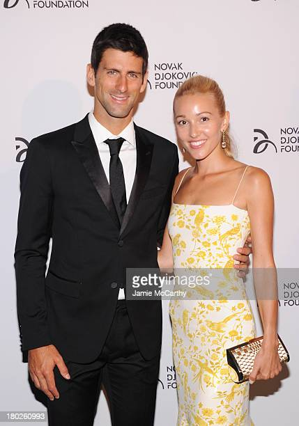 Professional tennis player Novak Djokovic and Jelena Ristic attend the Novak Djokovic Foundation New York dinner at Capitale on September 10 2013 in...