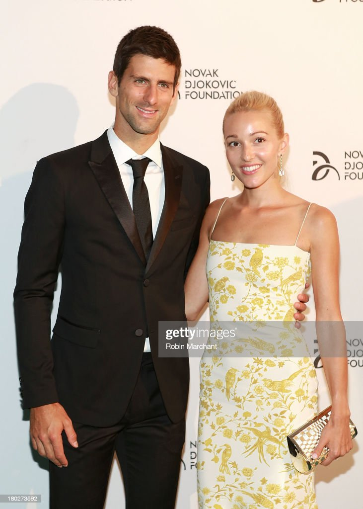Professional tennis player <a gi-track='captionPersonalityLinkClicked' href=/galleries/search?phrase=Novak+Djokovic&family=editorial&specificpeople=588315 ng-click='$event.stopPropagation()'>Novak Djokovic</a> and <a gi-track='captionPersonalityLinkClicked' href=/galleries/search?phrase=Jelena+Ristic&family=editorial&specificpeople=5608157 ng-click='$event.stopPropagation()'>Jelena Ristic</a> attend the 2013 <a gi-track='captionPersonalityLinkClicked' href=/galleries/search?phrase=Novak+Djokovic&family=editorial&specificpeople=588315 ng-click='$event.stopPropagation()'>Novak Djokovic</a> Dinner at Capitale on September 10, 2013 in New York City.