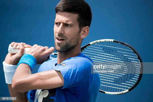 Professional tennis player Novak Djokovic is photographed at the The Rogers Cup for Self Assignment on July 24 2016 in Toronto Ontario