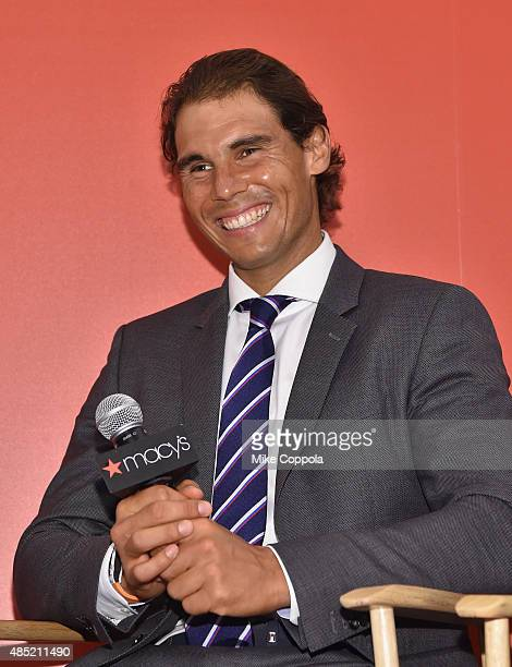 Professional tennis player Rafael Nadal speaks as he makes a personal appearance at Macy's Herald Square at on August 25 2015 in New York City