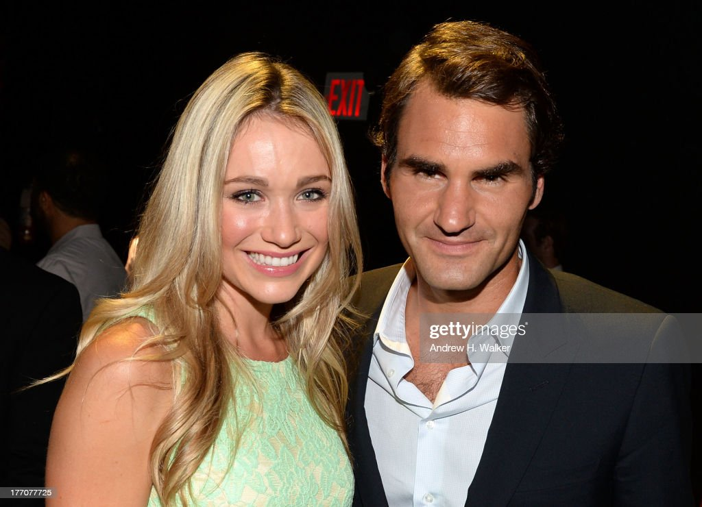 Professional Tennis Player Roger Federer (R) and Actress Katrina Bowden attend Moet & Chandon Celebrates Its 270th Anniversary With New Global Brand Ambassador, International Tennis Champion, Roger Federer at Chelsea Piers Sports Center on August 20, 2013 in New York City.