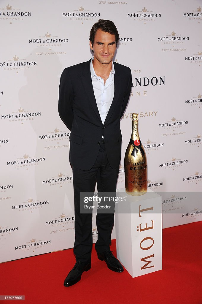 Professional tennis player <a gi-track='captionPersonalityLinkClicked' href=/galleries/search?phrase=Roger+Federer&family=editorial&specificpeople=157480 ng-click='$event.stopPropagation()'>Roger Federer</a> attends Moet & Chandon Celebrates Its 270th Anniversary With New Global Brand Ambassador, International Tennis Champion, <a gi-track='captionPersonalityLinkClicked' href=/galleries/search?phrase=Roger+Federer&family=editorial&specificpeople=157480 ng-click='$event.stopPropagation()'>Roger Federer</a> at Chelsea Piers Sports Center on August 20, 2013 in New York City.