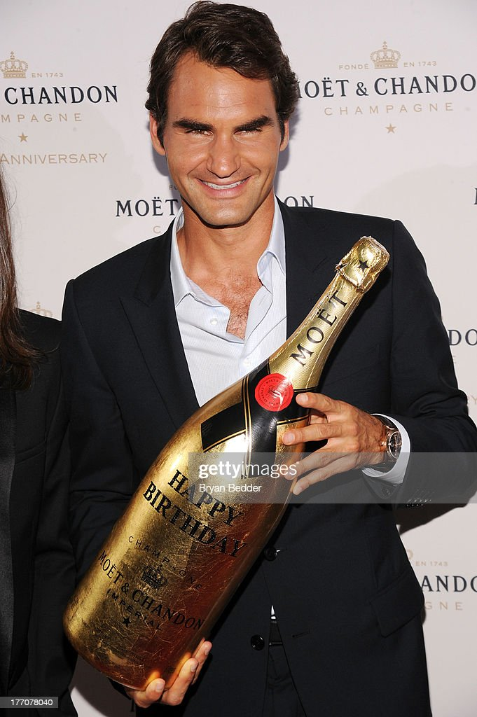 Professional Tennis Player Roger Federer attends Moet & Chandon Celebrates Its 270th Anniversary With New Global Brand Ambassador, International Tennis Champion, Roger Federer at Chelsea Piers Sports Center on August 20, 2013 in New York City.