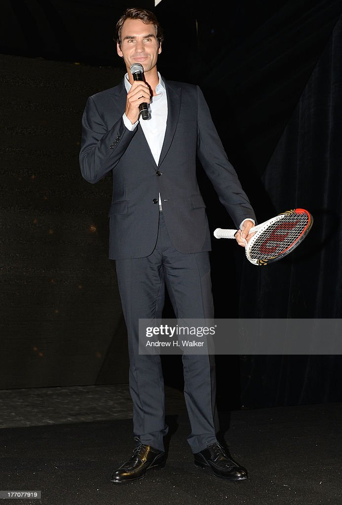 Professional Tennis Player <a gi-track='captionPersonalityLinkClicked' href=/galleries/search?phrase=Roger+Federer&family=editorial&specificpeople=157480 ng-click='$event.stopPropagation()'>Roger Federer</a> speaks onstage at Moet & Chandon Celebrates Its 270th Anniversary With New Global Brand Ambassador, International Tennis Champion, <a gi-track='captionPersonalityLinkClicked' href=/galleries/search?phrase=Roger+Federer&family=editorial&specificpeople=157480 ng-click='$event.stopPropagation()'>Roger Federer</a> at Chelsea Piers Sports Center on August 20, 2013 in New York City.